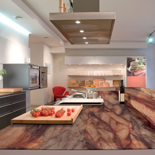 granit red bucatarie